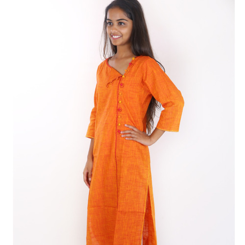 Long side button kurta