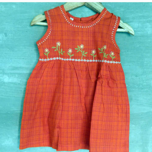 Kids cotton frock Age 1 (Orange)