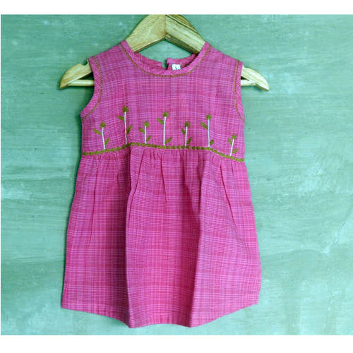 Kids cotton frock Age 1 Pink