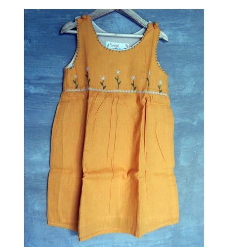 Kids cotton frock Age 6 (Yellow)