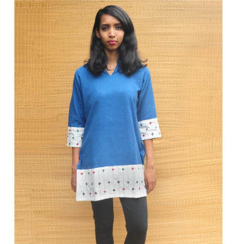 High neck collared indigo Short kurta