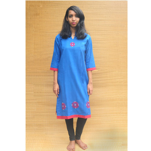 Indigo collared long kurta - Organic