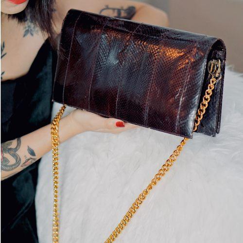 Vintage 80s Snake-Skin Bag