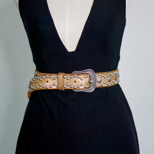 Vintage Bronze Tinted Leather Rattle Rivet Belt