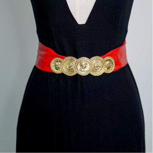 Vintage Red Coin Belt