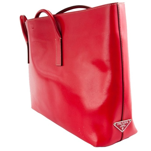 Prada Red Leather Tote Bag