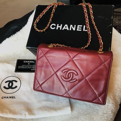 Vintage Chanel Red Lamb Skin Bag