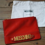 Moschino Red Patent Clutch Bag