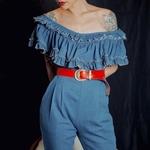 Vintage Red Leather Belt