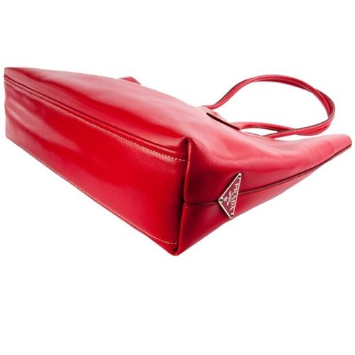 Prada Red Leather Tote Bag