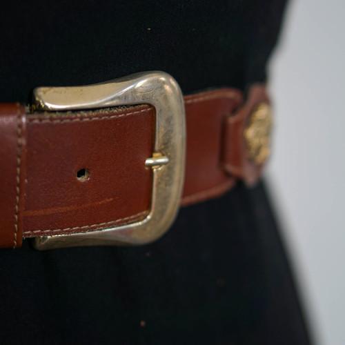 Vintage Leather Medusa Rivets Belt