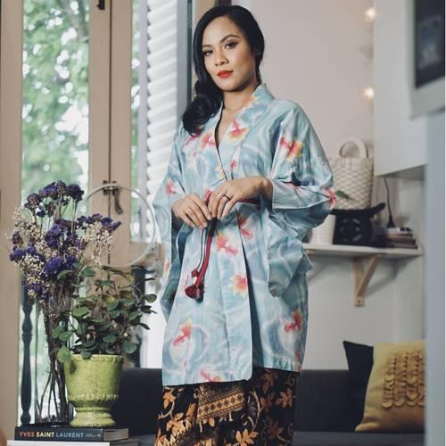 Blue Sakana Kimono Kurung Set