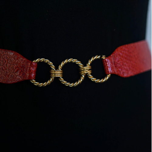"Vintage ""MM"" Red Leather Gold Chain Belt"