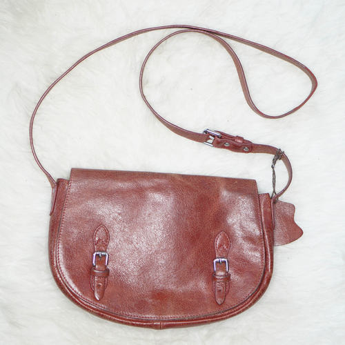 Vintage DUDU Leather Saddle Cross Body Bag