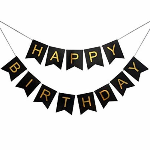 Gold Font Happy Birthday Banner