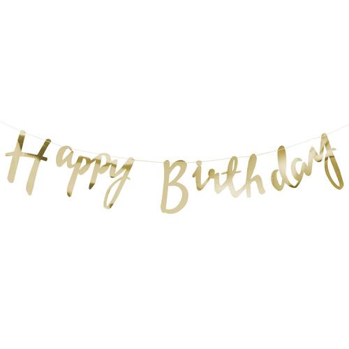 Gold Script Font Happy Birthday Bunting