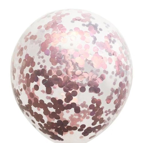 "[Helium Inflated] 12"" Rose Gold Confetti Balloon"