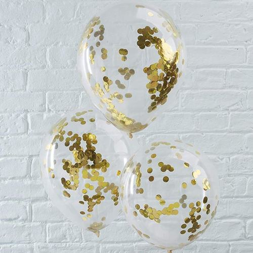 "[Helium Inflated] 12"" Gold Confetti Latex Balloon"