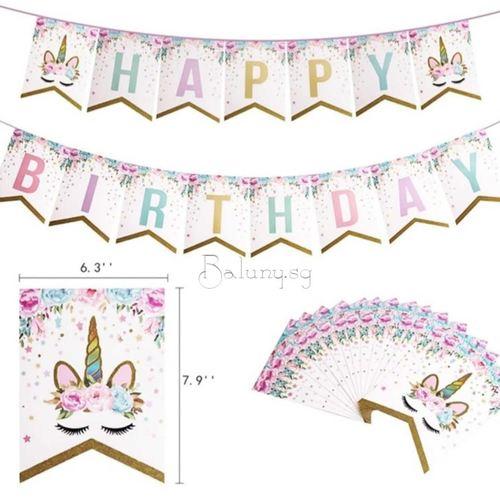Unicorn 'Happy Birthday' Bunting