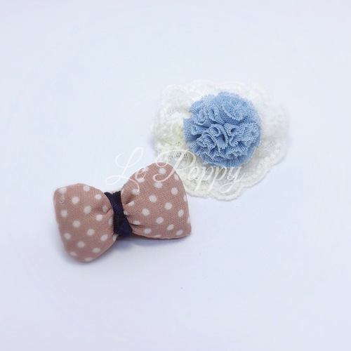 Pom Pom on Lace with Matching Puffed Bow