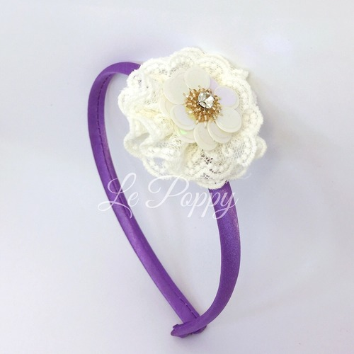 Purple Satin Hairband with Sequin Embellishment on Lace