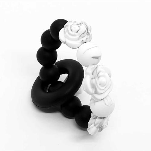 Mini Beadsy Black White Rose