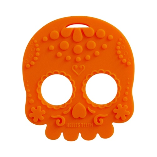 Baby Teether Sugar Skull (Orange)