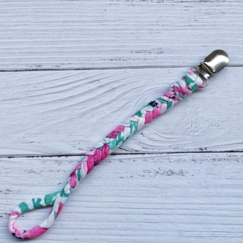 Braided Pacifier Clip (Floral)