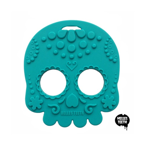 Baby Teether Sugar Skull Teal