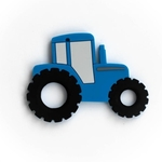 Baby Teether Tractor Blue