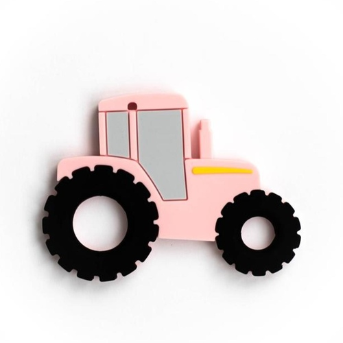 Baby Teether Tractor Pink
