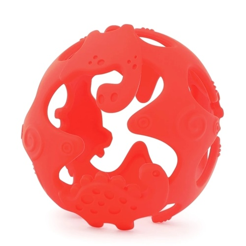 Dino Teething Ball Red