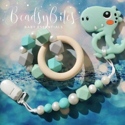 Beadsy Set Ft. Mini B Cute Dino (Mint)