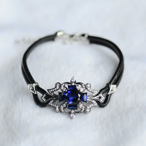 Calf leather Glass Filled Sapphire Bracelet
