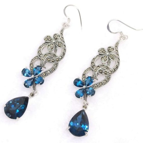 Spirulina Series London Blue Topaz Earrings