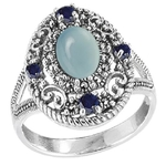 Scrollwork Chalcedony  Sapphires Ring
