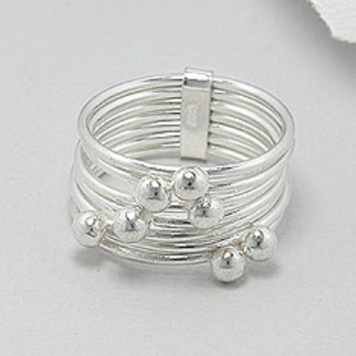 Silver Layered Ball Ring