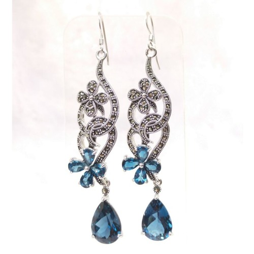 Spirulina Series *London Blue Topaz Earrings