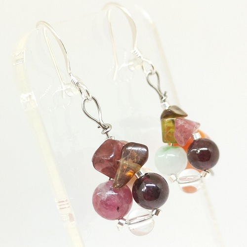 Wired earrings *Striped Orange Agates