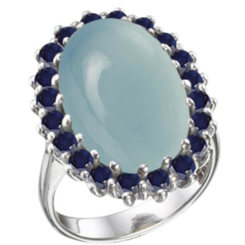 Victorian Large Prong Ring  Chalcedony & Sapphires