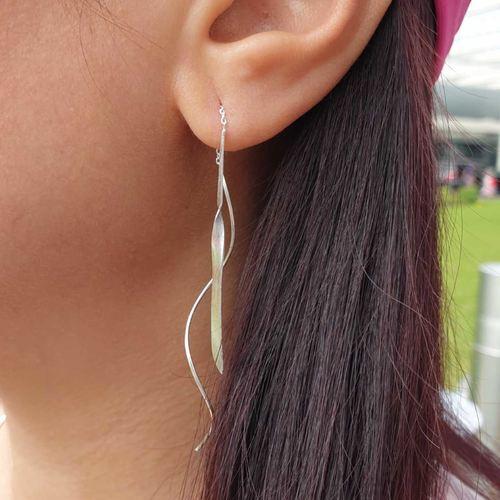 Matt Silver Threader Ear Rings 0.01