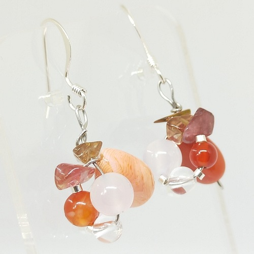 Wired earrings Striped Orange Agates