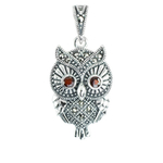 Owl pendant with pink opal on eyes