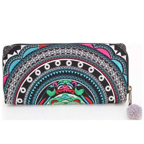 Embroidered Wallet *Turquoise