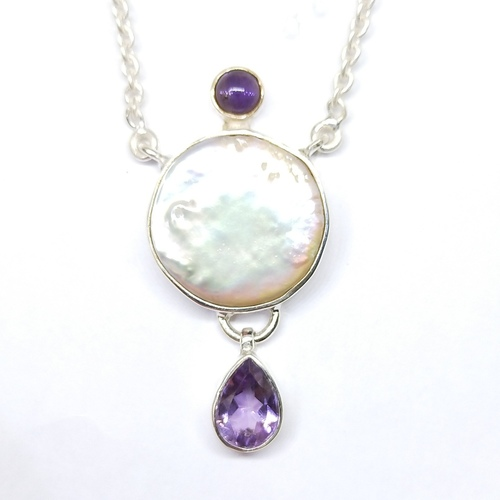 Handmade Necklace Pearls Amethyst Or Periodot