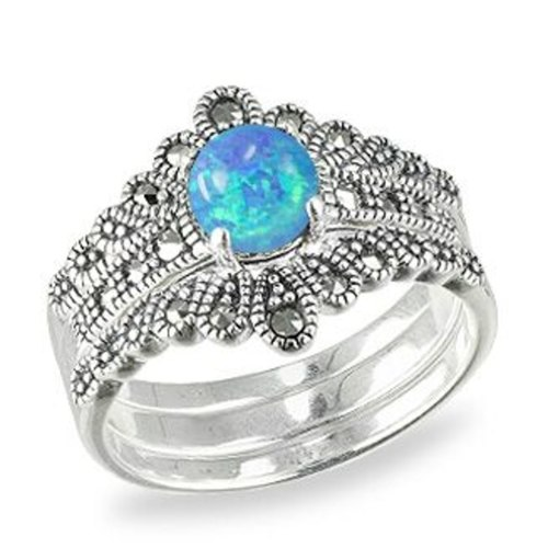 Crown Stack Rings HR1597 Opal Blue