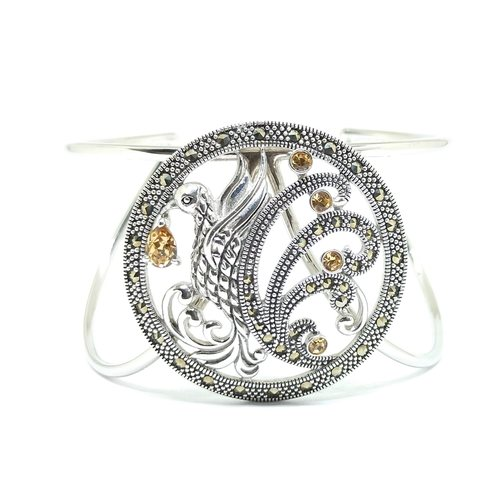 Paradise Bird Bangle Silver Smoky