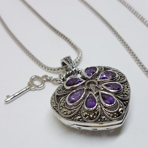Love Locket Natural Amethyst