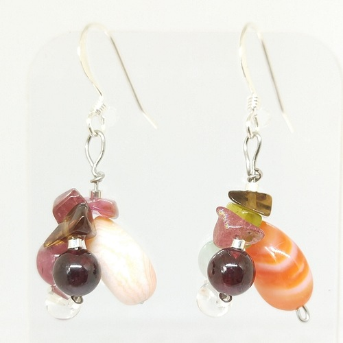 Wired earrings *Striped Orange Agates