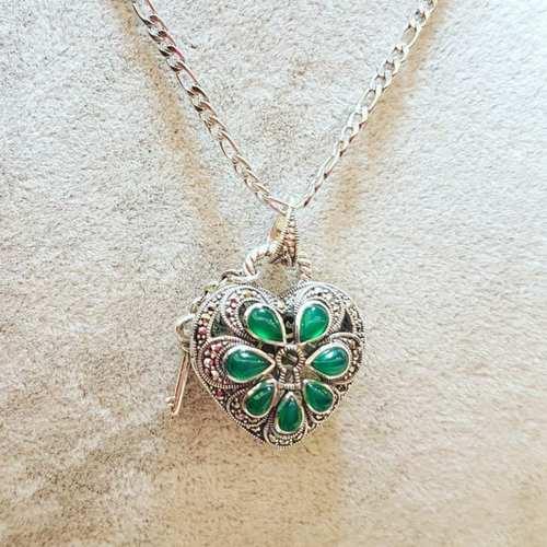 Love Locket Natural Agate Green(HP842)
